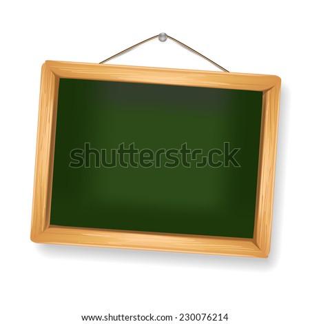little blackboard hanging on white - stock vector