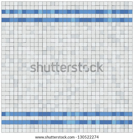 Little blue and withe tiles wall covering. Border. - stock vector