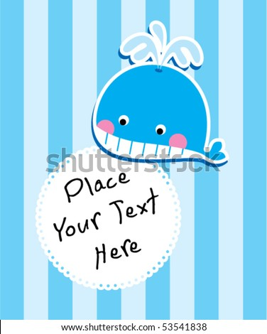little blue whale greeting - stock vector