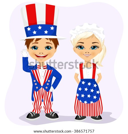 little boy and girl dressed up like Uncle Sam