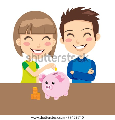Little boy and girl happy saving money in pink piggy bank - stock vector