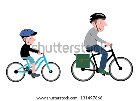 Little Boy and man with cycling helmet cycling on bicycles - stock vector