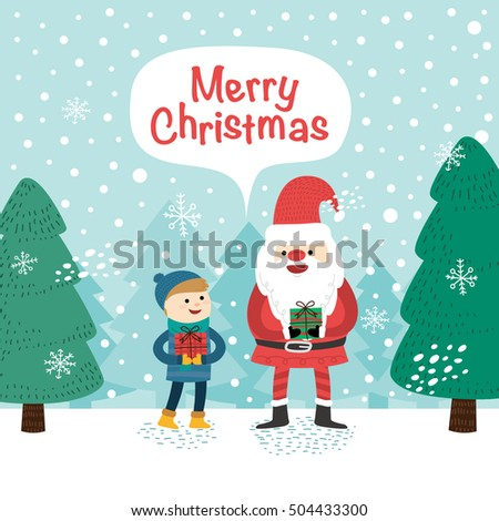 Little boy and Santa Claus. Vector illustration for christmas card.