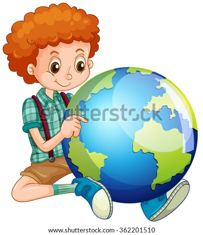 Little boy and the world illustration - stock vector