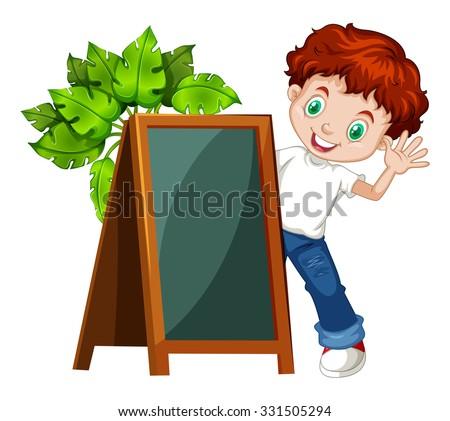 Little boy behind the chalkboard illustration - stock vector