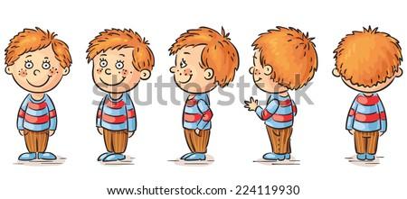 Little boy cartoon character turnaround - stock vector