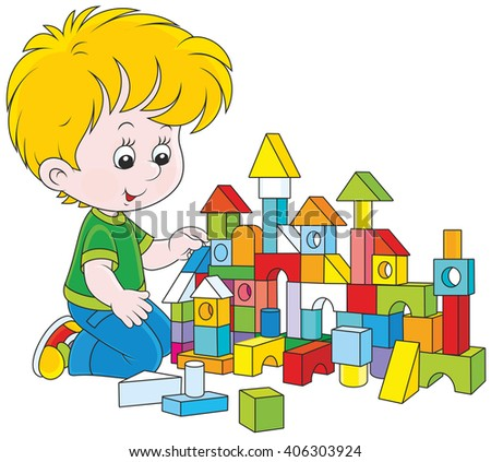 little boy constructing a toy house with colored bricks