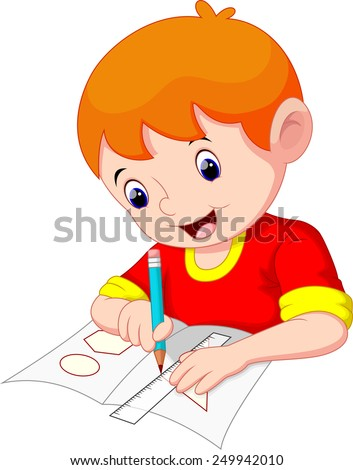 Little boy drawing on a piece of paper - stock vector
