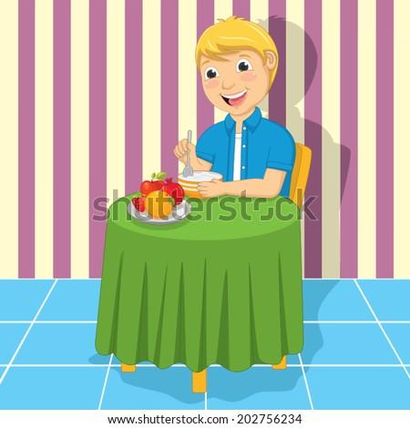 Little Boy Eating Meal Vector Illustration - stock vector