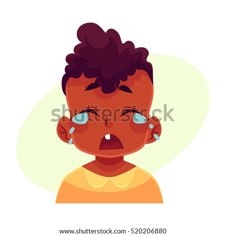 Little boy face, crying facial expression, cartoon vector illustrations isolated on yellow background. black male kid emoji face crying, shedding tears, sad, heart broken, in grief.
