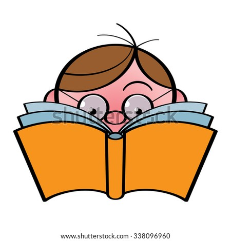Little boy in eyeglasses reading the book - stock vector
