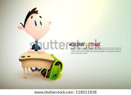 Little Boy Learning In School | EPS10 Vector Background | Layers Organized and Named Accordingly