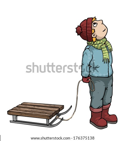 Little boy looking up, holding a sledge rope, vector illustration