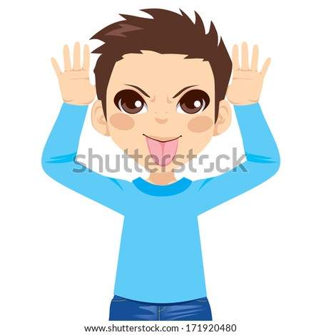 Little boy making mocking expression with hands on head side and sticking out tongue - stock vector