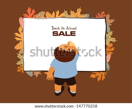 Little boy musingly looks up at a chalkboard surrounded with autumn leaves - stock vector