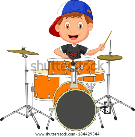 Little boy playing drum - stock vector