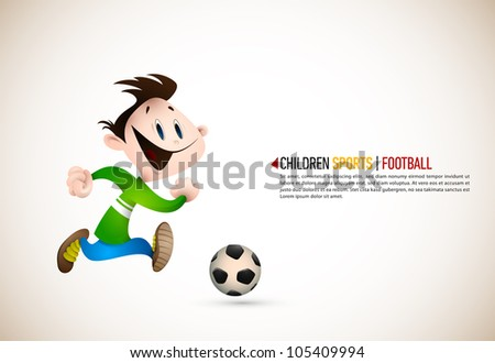 Little Boy PLaying Football | EPS10 Vector Background | Layers Organized and Named Accordingly - stock vector