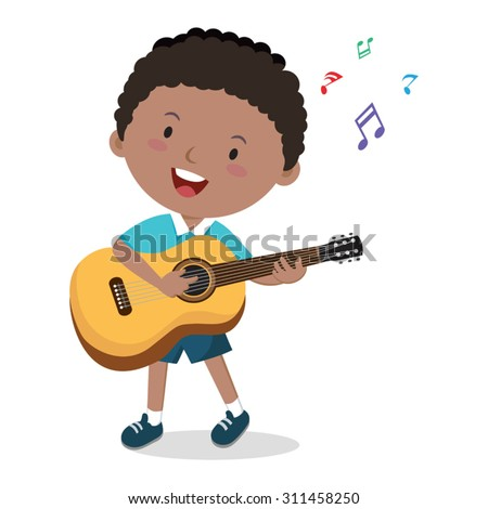 Little boy playing guitar. Vector illustration of a cheerful boy playing guitar and singing. - stock vector