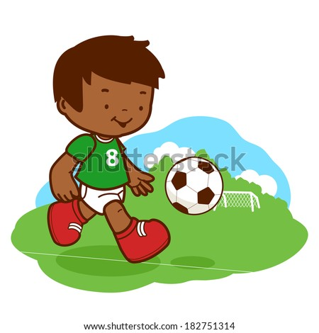 Little boy playing soccer. A happy African American child plays football. - stock vector