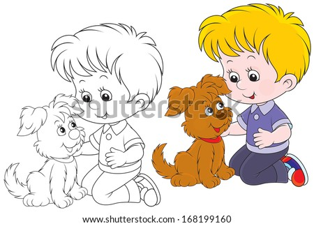Little boy playing with a brown puppy - stock vector