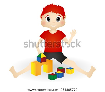 little boy playing wooden toy blocks vector - stock vector