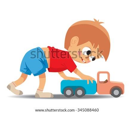 Little boy plays toy car. Vector illustration - stock vector
