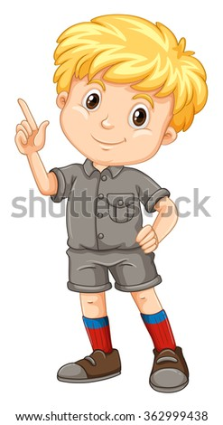 Little boy pointing his finger up illustration - stock vector