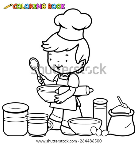Little boy preparing to cook coloring book page. Vector illustration of a black and white outline image of a little boy holding kitchen  utensils and preparing to cook in the kitchen.  - stock vector