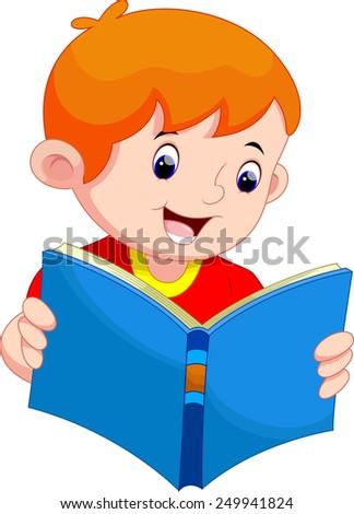 Little boy reading a book - stock vector