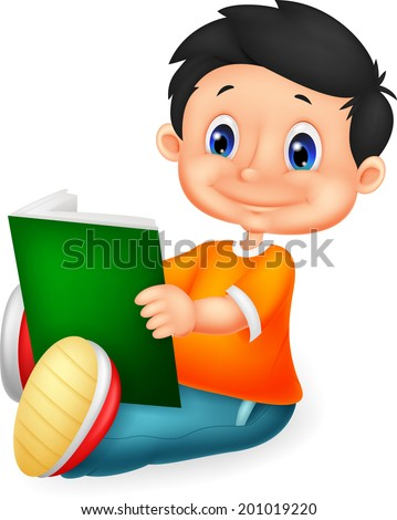 Little boy reading book - stock vector