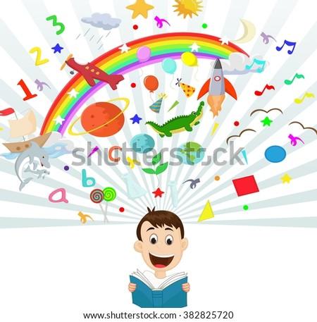 Little boy reading book education concept illustration - stock vector