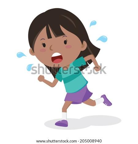 Little boy running. Marathon runner. - stock vector