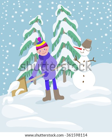 Little boy shoveling snow on home drive way. Beautiful snowy garden or front yard. Child with shovel playing outdoors in winter season. Child making a snowman. - stock vector