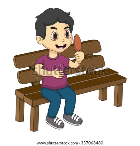 Little boy sitting on a bench eating ice cream cartoon vector illustration
