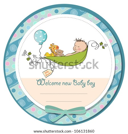 little boy sleeping in a pea been, baby announcement card - stock vector