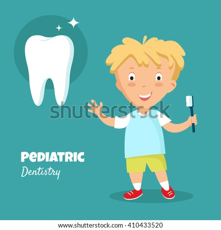 Little boy smiling , holding in his hand toothbrush with toothpaste.Dental care and health. Pediatric dentistry concept. Vector illustration. Eps 8 - stock vector