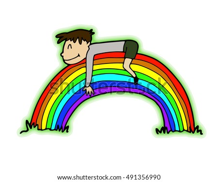 Little boy spends his childhood in happy dreams. In one of his fantasies, he is in some peaceful place with a good atmosphere lying on the big full rainbow, hugging it and smiling contentedly