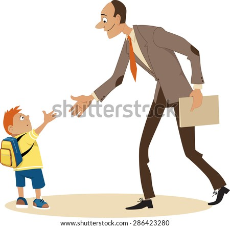 Little boy timidly shaking hands with a new teacher, vector cartoon, no transparencies, EPS 8 - stock vector