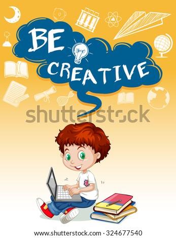 Little boy using computer illustration - stock vector