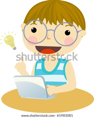 Little boy, very cute looking at computer - stock vector