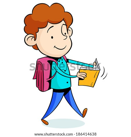 little boy walking and reading a book - stock vector