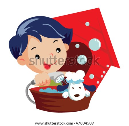 Little boy washes a dog - stock vector