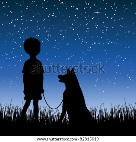Little boy watching night starry sky - stock vector