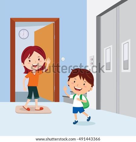 Kid Leaving Mom For School Cartyoon