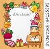 Little boy, wearing Santa hat, writing a letter to Santa . Lots of  Christmas ornaments and decorations. Christmas kids series 3. - stock vector