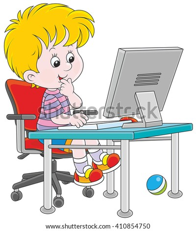 little boy with a computer