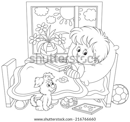 Little boy with a plaster on his arm - stock vector
