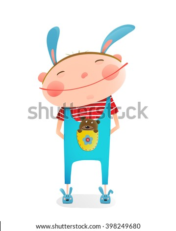 Little boy with bear cub funny cute toy in pocket. Small kid with toy. Happy child smiling wearing bunny costume. vector illustration - stock vector