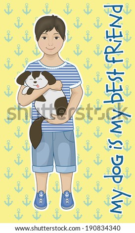 Little boy with his puppy friend - stock vector