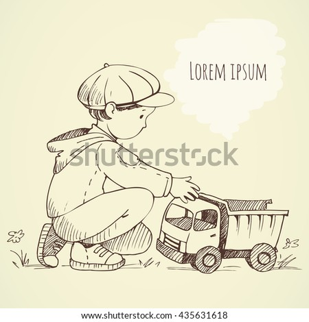 Little Boy with  toy car. Hand drawing sketch. Background for text - stock vector